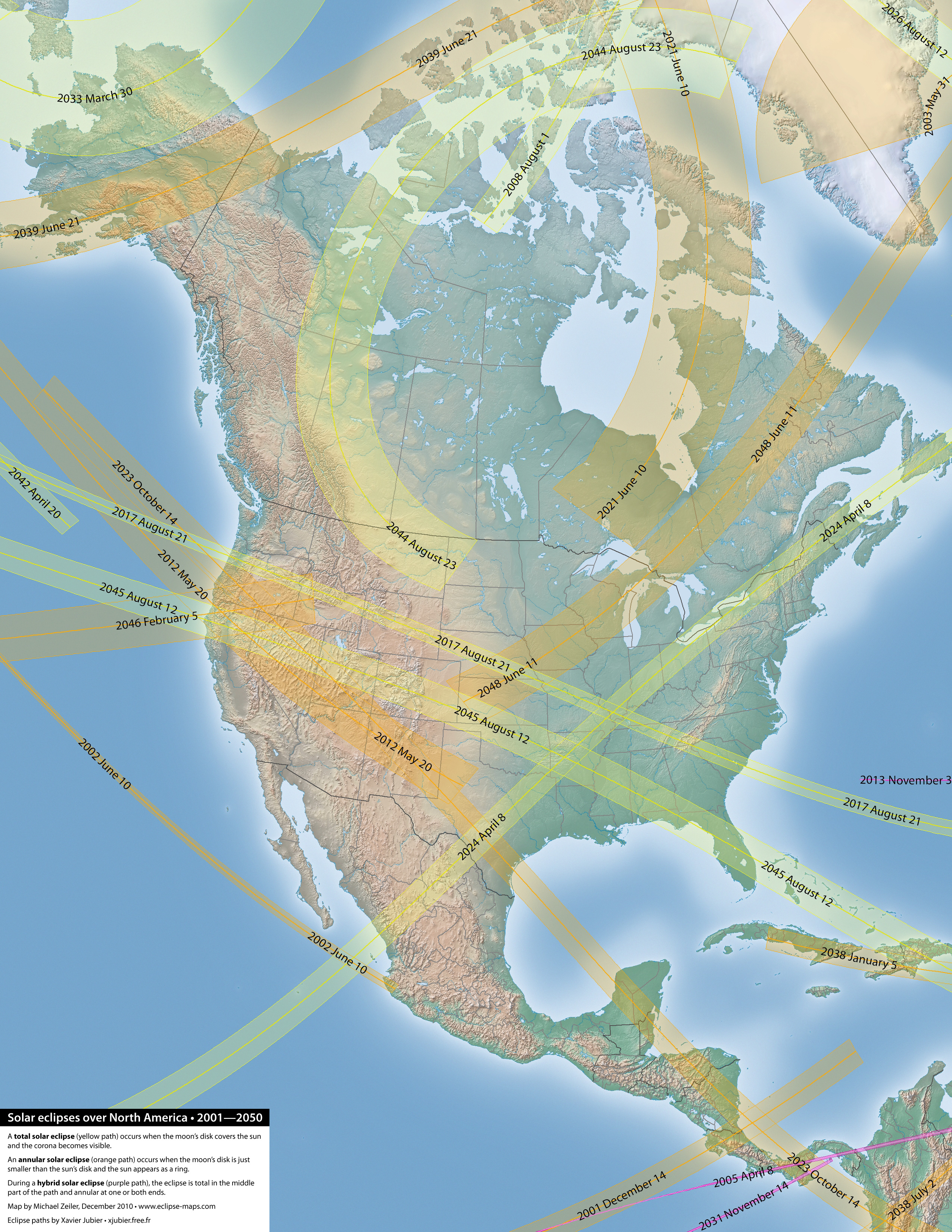 Map Of America 2050.Every Solar Eclipse Over North America Between 2000 And 2050
